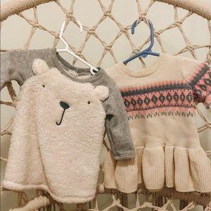 Baby gap sweater dress 2 pc lot 3-6 girls